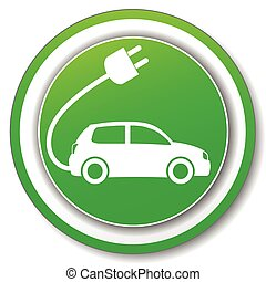 electric car green icon - illustration of green circle icon...