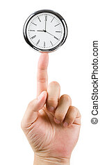 Time Balance - Clock face and finger, concept of Time...