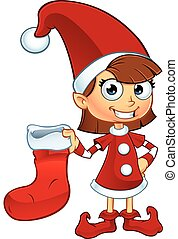 Girl Elf In Red Character - A cartoon illustration of a girl...