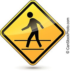 crosswalk sign - illustration of yellow design sign for...