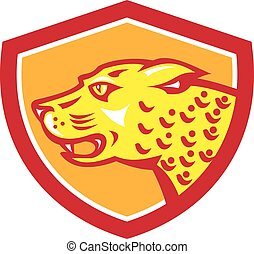 Jaguar Head Side Growling Shield Retro - Illustration of a...