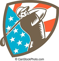 American Golfer Tee Off Golf Shield Woodcut - Illustration...