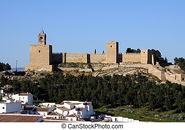 Antequera castle, Spain. - Castle fortress townhouses in the...