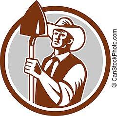 Organic Farmer Shovel Circle Woodcut