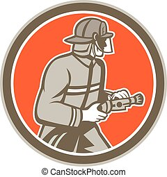 Fireman Firefighter Fire Hose Circle Retro - Illustration of...