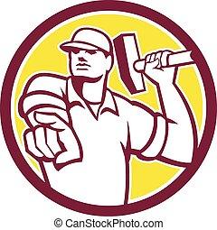 Demolition Worker Hammer Pointing Circle Retro
