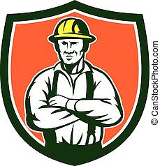 eletricista, braços, cruzado, escudo, retro,