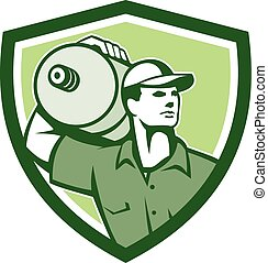 Delivery Worker Water Jug Shield Retro - Illustration of a...