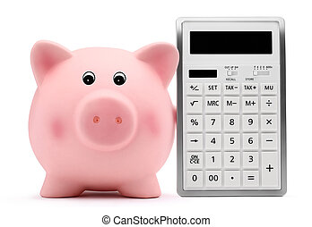 piggy bank with calculator accounting concept and savings