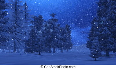Snowfall in the pine wood at night