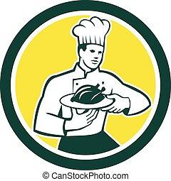 Chef Cook Serving Chicken Platter Circle Retro