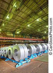 galvanized steel coil in a warehouse