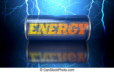 Energy Drink Can - A blue energy drink shaped tin can with...