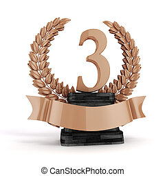 3d third plae bronze trophy and laurel