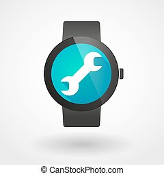 Smart watch icon with a monkey wrench - Illustration of an...