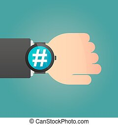 Hand with a smart watch displaying a hash tag - Illustration...