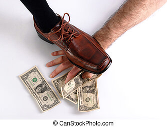 Shoe crushing a hand that holds money White background -...