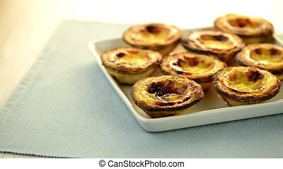 Pastel de nata, typical pastry from Lisbon - Portugal