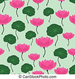 Seamless tropical pattern with stylized lotus flowers.