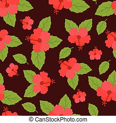Seamless tropical pattern with stylized hibiscus flowers.