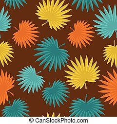 Seamless tropical pattern with stylized palm leaves.