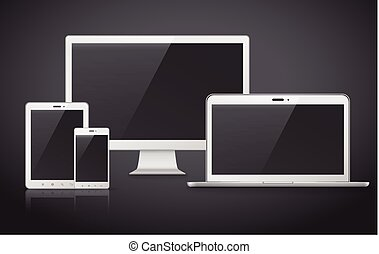 modern device set over black background - device set that...