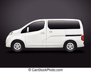 white commercial van isolated on black background