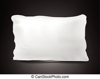 close up look at blank pillow isolated on black background