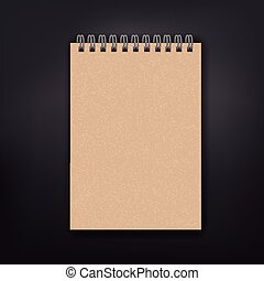 blank note book isolated on black background