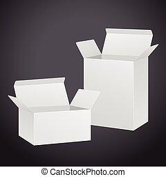 blank carton set isolated on black background