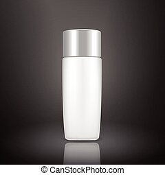 plastic bottle template isolated on black background