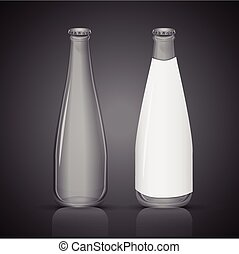 glass bottle with blank label isolated on black background