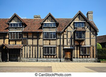 Shakespeares birthplace. - Front view of Shakespeares...