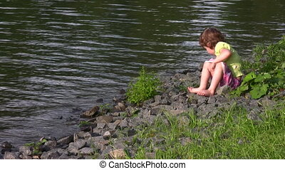 little girl on pond - Little girl on pond