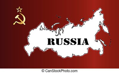 Russian Flag and Map - Hammer and Sickle in gold set on a...