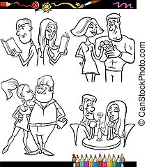 couples set cartoon coloring page - Coloring Book or Page...