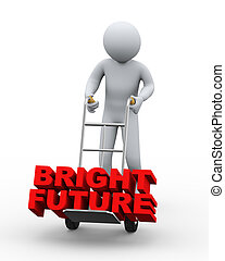 3d man with hand truck taking bright future