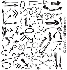 Vector set of hand drawn arrows illustration - Abstract...