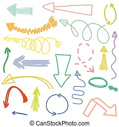 Vector set of hand drawn arrows illustration