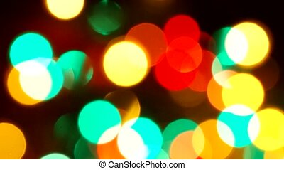 Festive Christmas background with lights. Flickering...