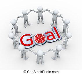 3d people around word goal