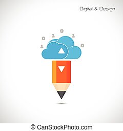 Creative pencil and cloud symbol. Flat design style and digital concept.