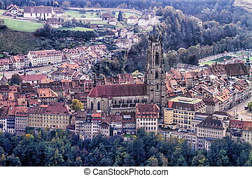 Cathedral of St. Nicholas in Fribourg, Switzerland - Aerial...