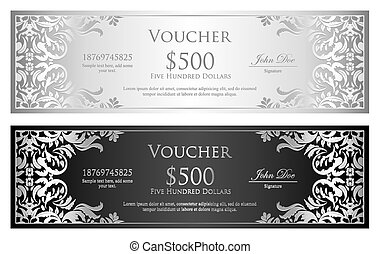 Silver and black voucher with victorian pattern - Exclusive...