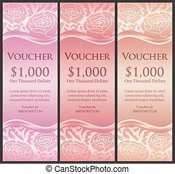 Vertical voucher with rose decoration in pink tones