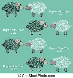 Seamless christmas pattern with sheeps