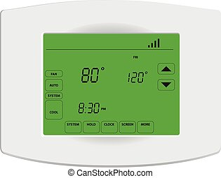 Programmable digital thermostat with touch screen and Wi-Fi.