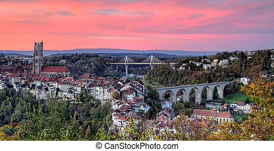 View of cathedral, Poya and Zaehringen bridge, Fribourg,...