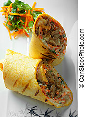 Rolled sandwich above view - Rolled sandwich with pork and...