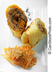 Rolled beef sandwich above view closeup photo
